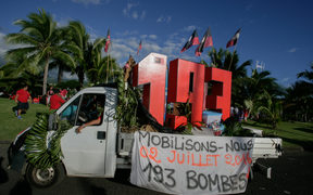 "A vehicle of the ""193"" anti-nuclear association in Papeete"