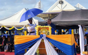 President Baron Waqa addressing guests at the official ceremony for Nauru's 50th Anniversary of Independence Celebrations.