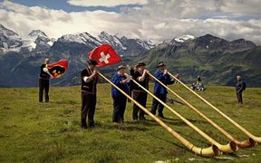Yodelling in the Swiss alps