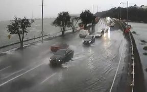 Auckland Transport a video of the flooding along Tamaki Drive in Auckland.