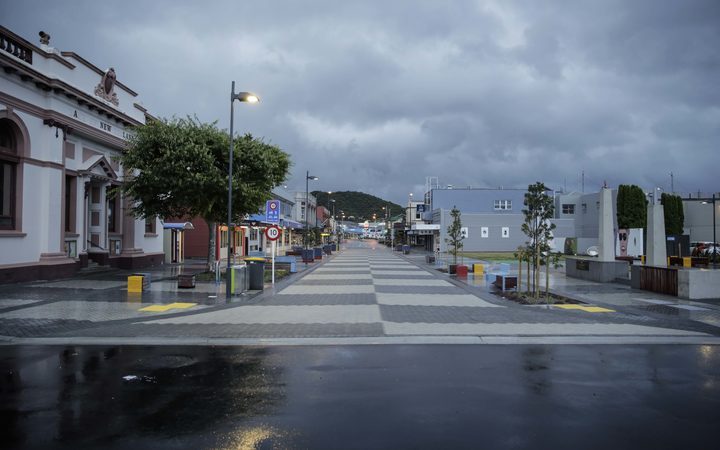 West Coast storm. Greymouth town ship received some rain and wind overnight.