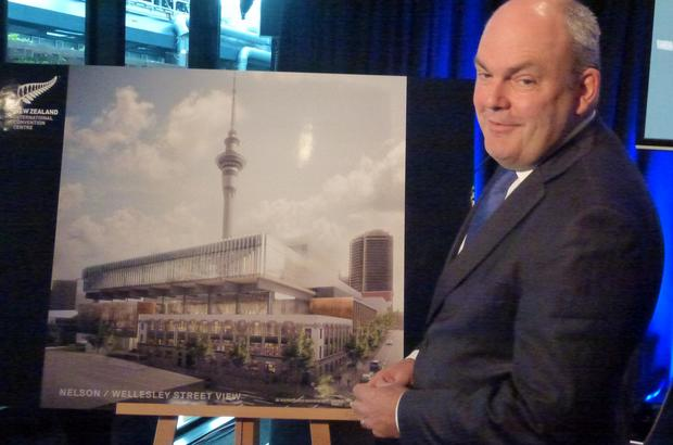 Steven Joyce unveiling the new SkyCity convention centre design. 26 May 2015.