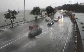 Auckland Transport's video of the flooding along Tamaki Drive.