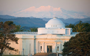 gallery and Ruapehu at sunset