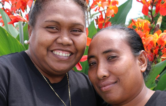 Roselyn Givi and Janet Meimana, RSE workers from the Solomon Islands.