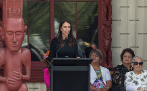 Prime Minister Jacinda Ardern speaking at Waitangi treaty grounds.