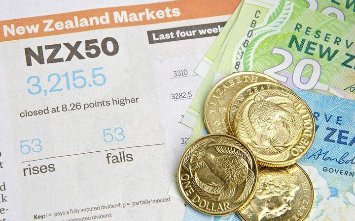 Dollar coins and bank notes on newspaper with New Zealand stock market news