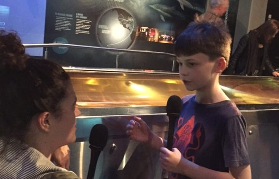 Noelle McCarthy and Sam Cousins discuss the colossal squid at Te Papa, Wellington 2018