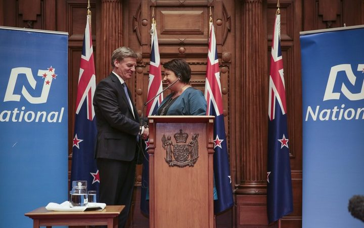 Bill English is announced as Prime Minister in 2016, following John Key's departure, and Paula Bennett as deputy. Photo / Rebekah Parsons-King