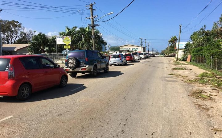 Cars lining up for fuel in Tonga's capital.