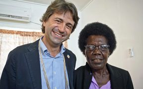 UN co-ordinator in PNG Gianluca Rampolla with Bougainville MP Josephine Getsi