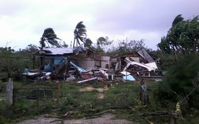 One of many homes destroyed by Cyclone Gita in Tonga