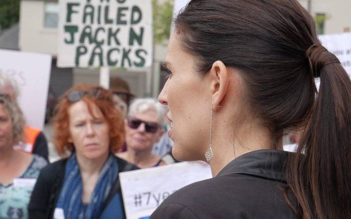 Jacinda Ardern speaks to protesters in Christchurch.