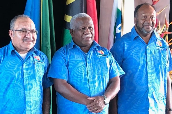 Melanesian Spearhead Group leaders at their 2018 summit: (left to right:) Fiji's Defence Minister Ratu Inoke Kubuabola, Victor Tutugoro of New Caledonia's FLNKS Kanaks Movement, PNG prime minister Peter O'Neill, prime minister of Solomon Islands Rick Hou, and Vanuatu's prime minister Charlot Salwai.