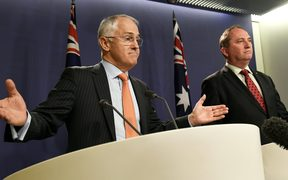 Australian Prime Minister Malcolm Turnbull (left) and his deputy, Barnaby Joyce