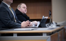 Kim Dotcom in court in Auckland as the main extradition hearing begins on 24 September 2015.