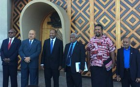 Leading delegates at the 2018 Melanesian Spearhead Group summit in Port Moresby, including Charlot Salwai and Rick Hou, prime ministers of Vanuatu and Solomon Islands (third and fourth from the left) and West Papuan leader Benny Wenda far right).