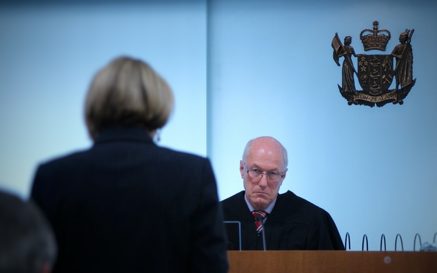 Judge Nevin Dawson hears a submission from Christine Gordon, who is acting for the Crown on behalf of the United States (24 September 2015, Auckland).