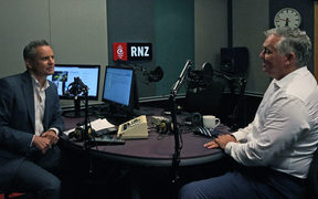 National MP Mark Mitchell in the studio with Guyon Espiner.