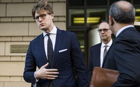Alex Van der Zwaan leaves the US District Courthouse after pleading guilty to charges of making false statements to investigators.