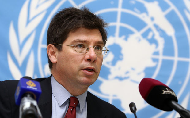 UN Special Rapporteur on the Human Rights of Migrants Francois Crépeau - pictured at a news conference in Doha in 2013.