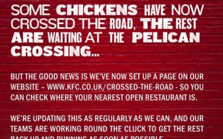 KFC said it had set up a web page to guide fried chicken fans to their nearest open outlet.
