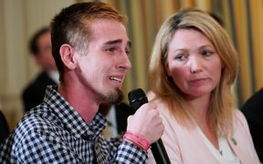 "Marjory Stoneman Douglas High School shooting survivor Samuel Zeif speaks during a ""listening session"" on gun violence with US President Donald Trump"