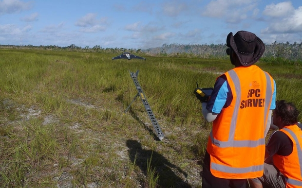 A drone taking off to assess damage in Vanuatu after Cyclone Pam