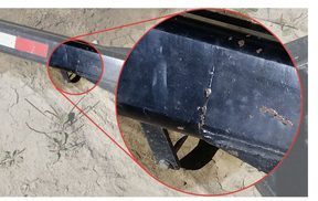 Crack identified on trailer's drawbar after approximately 2 years in service.