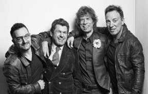 Bono, Jann Wenner, Mick Jagger, and Bruce Springsteen, at the 25th Anniversary of the Rock and Roll Hall of Fame, in 2009.