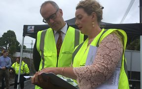 Housing Minister Phil Twyford with Housing NZ senior development manager Cara Doonan.