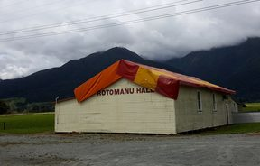 Rotomanu Hall on the West Coast had its roof blown off by ex-Cyclone Gita.