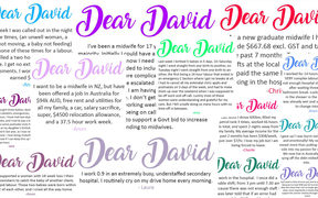 Some of the 'Dear David' messages from midwives.