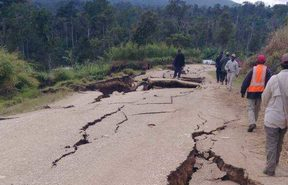 A road in Komo, Hela province of Papua New Guinea, affected by the 7.5 earthquake 26 February 2018.