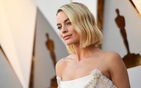 Actress Margot Robbie arrives for the 90th Annual Academy Awards.