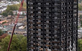 The burned-out-shell of Grenfell Tower in London.