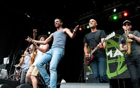 Balkan Beat Box on stage at WOMAD Taranaki 2015