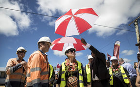 The Right Honourable Jacinda Ardern Prime Minister of New Zealand inspects the re-build programme at Pili village after cyclone Gita.