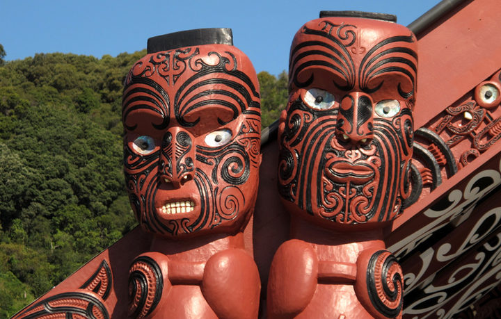 Carved figures on the amo - the posts on either side of the front of the wharenui.