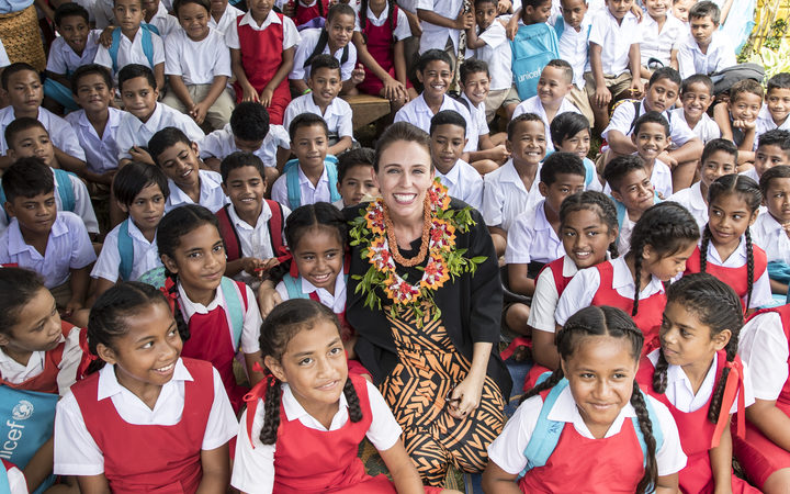 Jacinda Ardern visited Fasi Government Primary School to see the destruction caused by cyclone Gita.