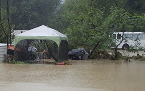 Eskdale Holiday Park campground was flooded after the river breached its banks.