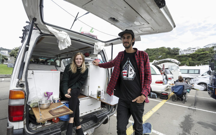 Freedom camper Juliette Amprino (L) and Julien Peris, both from France, say they consider New Zealand's freedom camping as a privilege and respect the areas they stay in.