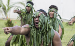 The New Zealand visitors are welcomed to Niue with a Takalo, a traditional war dance.
