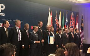 Closing the signing ceremony of the CPTPP in Santiago, Chile.