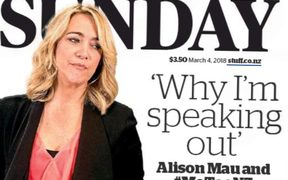 Alison Mau on the cover of the Sunday Star Times launchng the #MeTooNZ campaign.