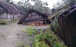A damaged house, fallen trees and damaged gardens on Uripiv, a low-lying island close to Malekula.