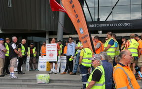 Port Lyttelton workers protest over pay and safety today.