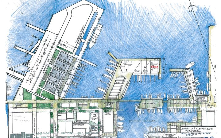 An artist impression of the government's latest America's Cup village plan, dropping the extension of Hobson Wharf on the eastern side.