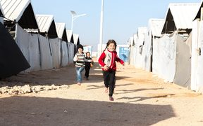 Syrian children at a refugee camp
