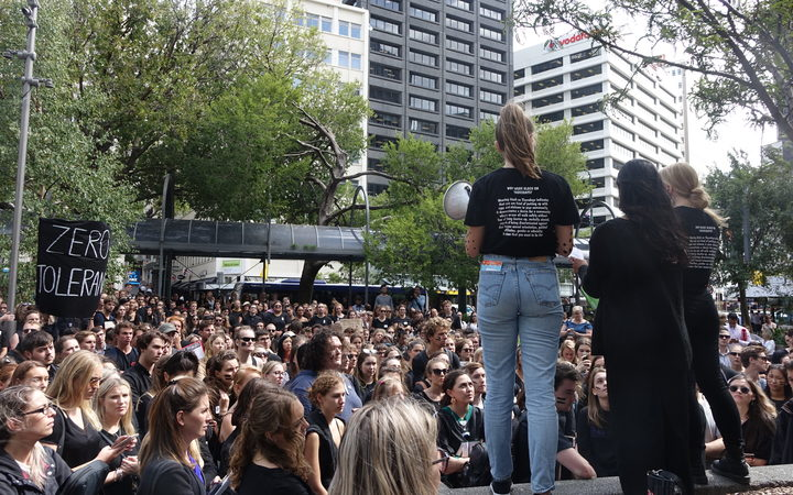 Academics and lawyers joined hundreds of students at the protest in Wellington